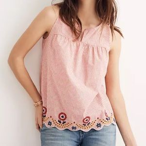 Madewell gingham eyelet embroidered scallop top 14